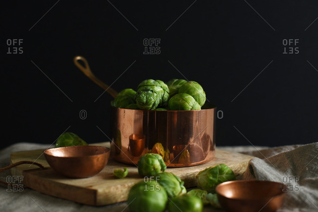 Brussels sprouts in copper pan