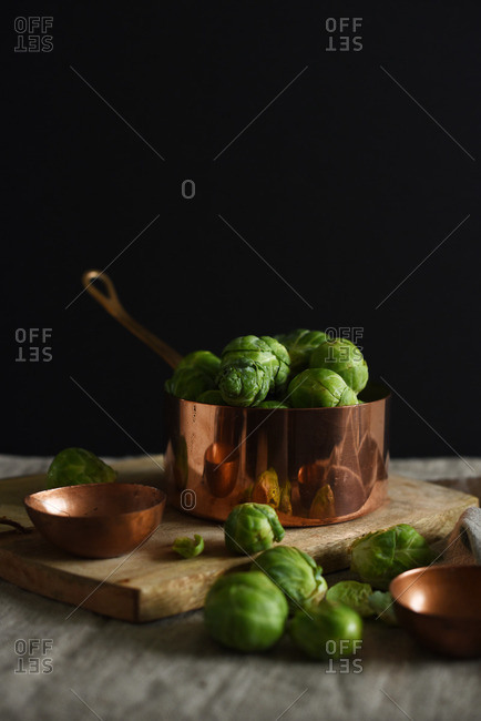 Brussels sprouts in copper sauce pan