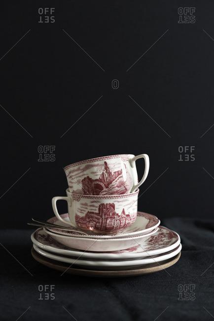 Tea dishes on black background