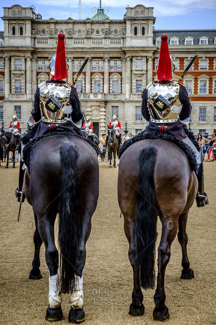 London, England - July 28, 2014: Mounted troopers of the Household Cavalry at Horse Guards