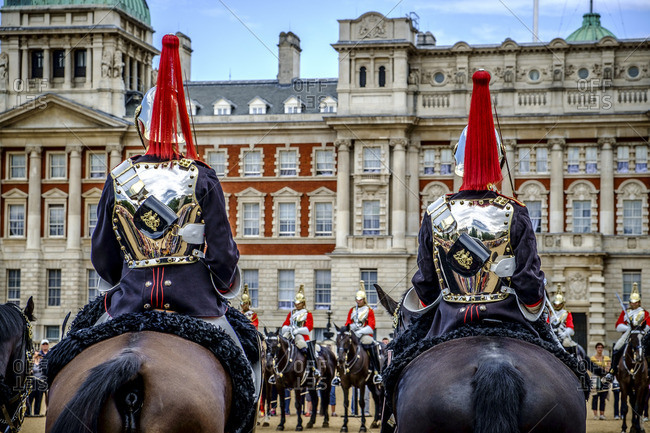 London, England - July 28, 2014: Soldiers on horseback in the Household Cavalry