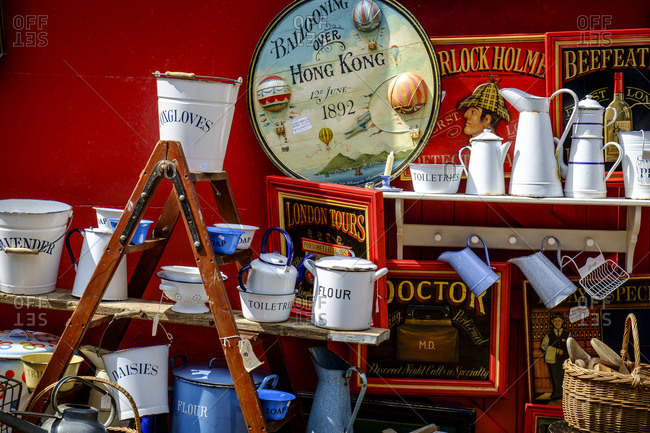 London, England - August 1, 2014: Vintage style home goods for sale at market on Portobello Road, Notting Hill