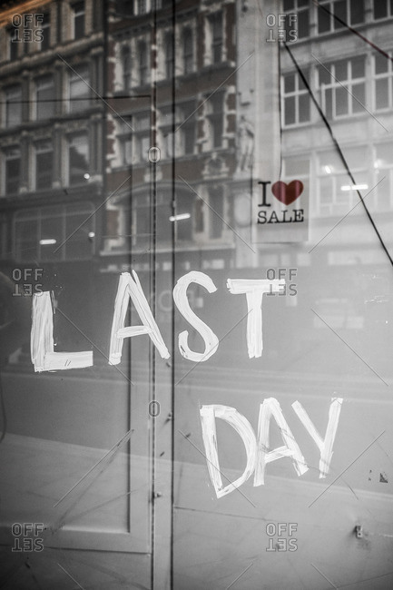 London, England - August 7, 2014: Empty shop window of out-of-business retailer