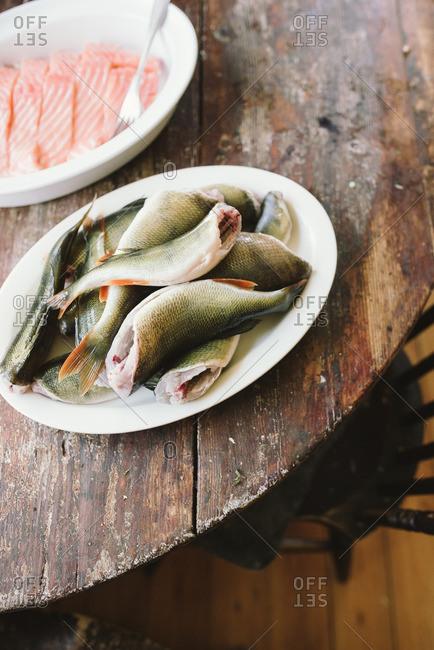Plates of fresh salmon filets and prepared fish