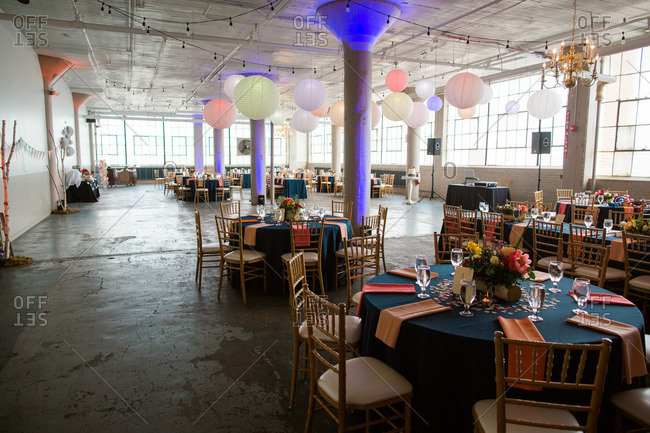 Colorful decorations at a warehouse wedding reception