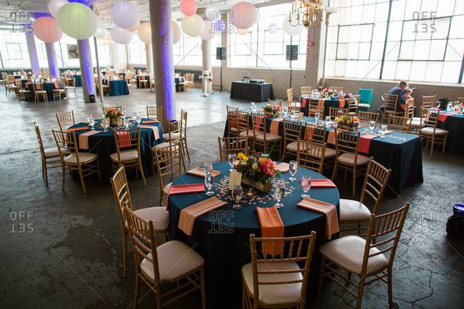 Wedding reception at a warehouse