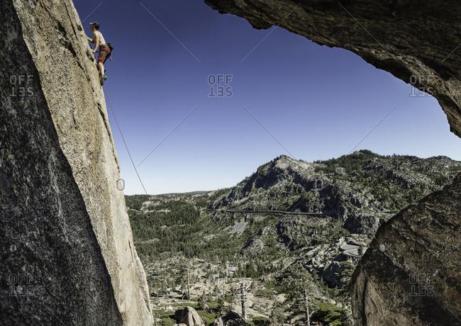 Sierra Nevada, California - July 16, 2016: Rock climber in the Sierra Nevada Mountains near Donner Pass, California