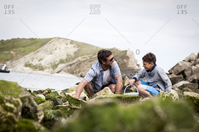 Father and son enjoying day at the beach