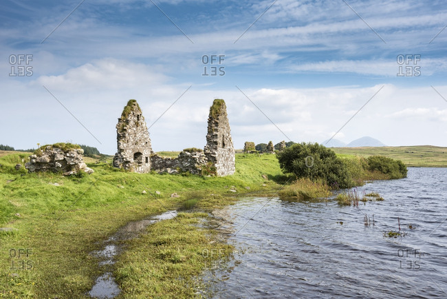 United Kingdom, Scotland, Inner Hebrides, Isle of Islay, Finlaggan Castle on island of Eilean Mor