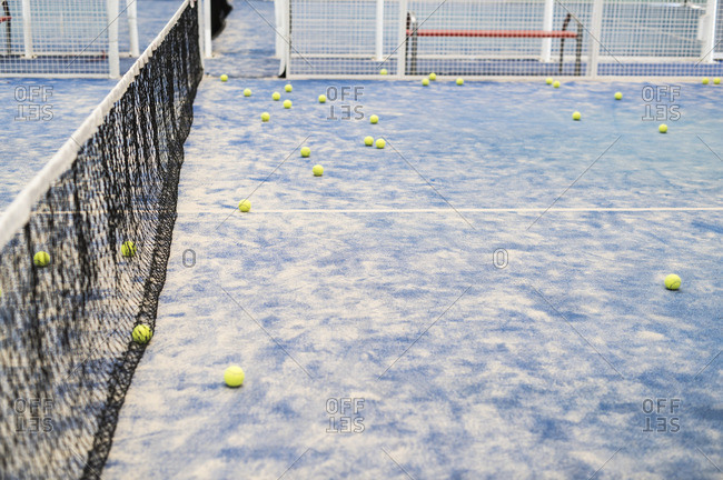 Balls on paddle tennis court