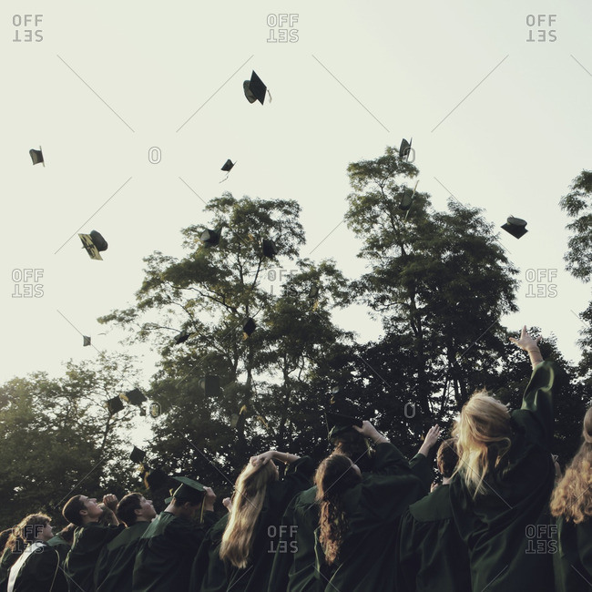 July 9, 2012: Graduates throwing caps