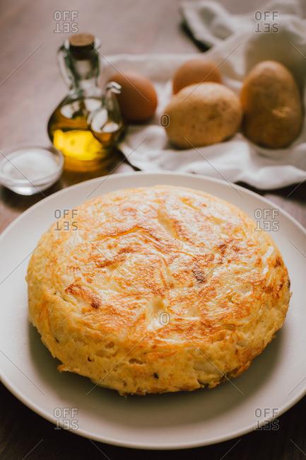 Spanish potato omelette dish