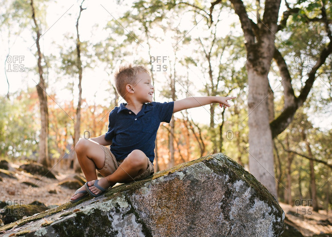 Little boy sitting on a large mossy rock and pointing
