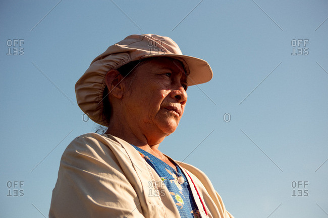 Meta, Colombia - August 4, 2016: Female farmer in Colombia