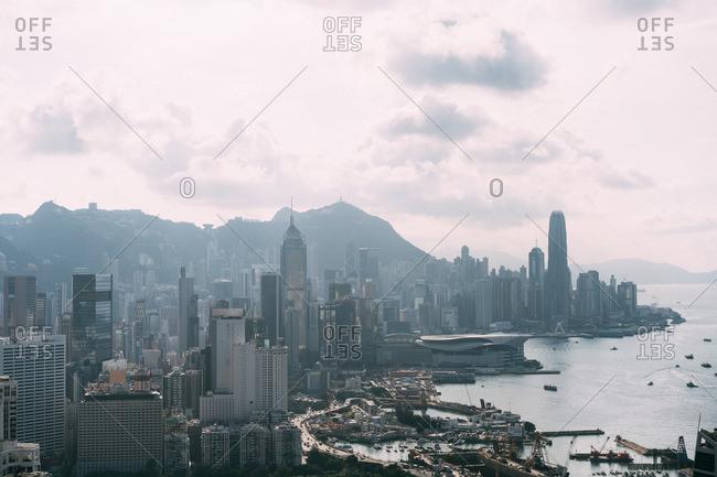 Aerial view overlooking Hong Kong Island across to Kowloon, Hong Kong