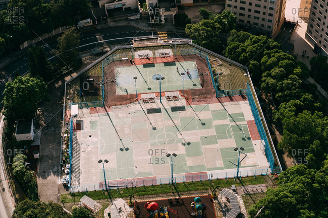 Hong Kong, China - October 1, 2016: Aerial view of a sports court complex in Hong Kong
