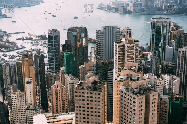 Hong Kong, China - October 1, 2016: Aerial view overlooking Hong Kong Island across to Kowloon, Hong Kong