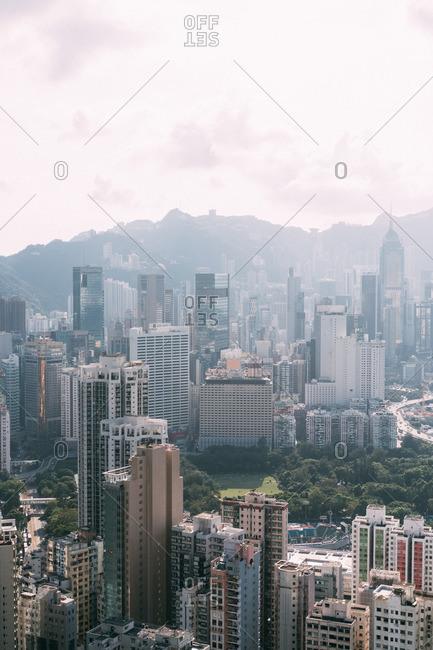 Hong Kong, China - October 1, 2016: Bird's eye view overlooking Hong Kong Island across to Kowloon, Hong Kong