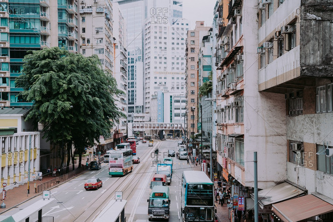 Hong Kong, China - October 3, 2016: View from a footbridge that overlooks King's Road in Hong Kong