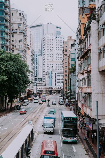 Hong Kong, China - October 3, 2016: View overlooking King's Road from a footbridge in Hong Kong