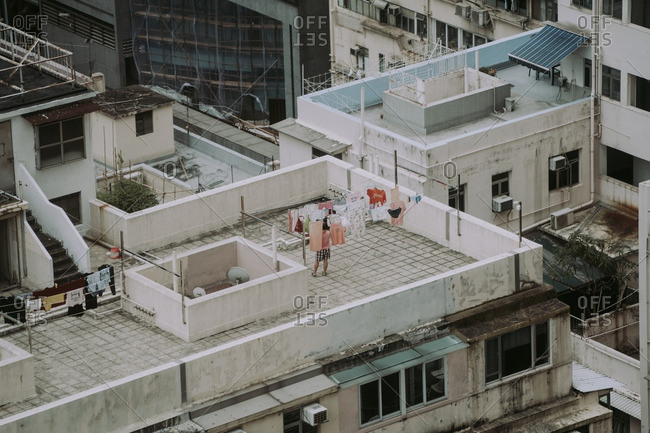 Laundry on roof of old building in the Causeway Bay area of Hong Kong