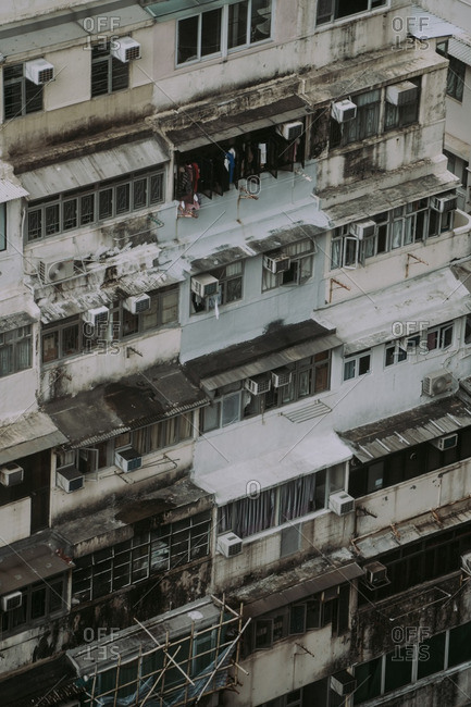 Old dirty apartment buildings in the Causeway Bay area of Hong Kong