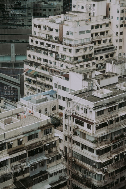 Old apartment buildings in the Causeway Bay area of Hong Kong