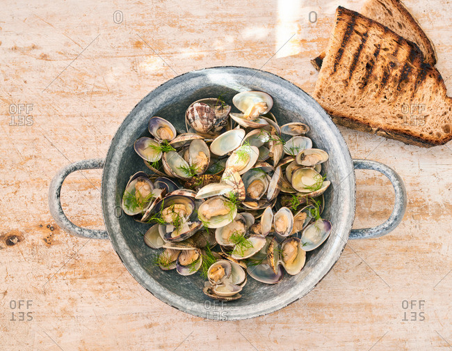 A pan of clams cooked with fresh fennel and served with toasted bread