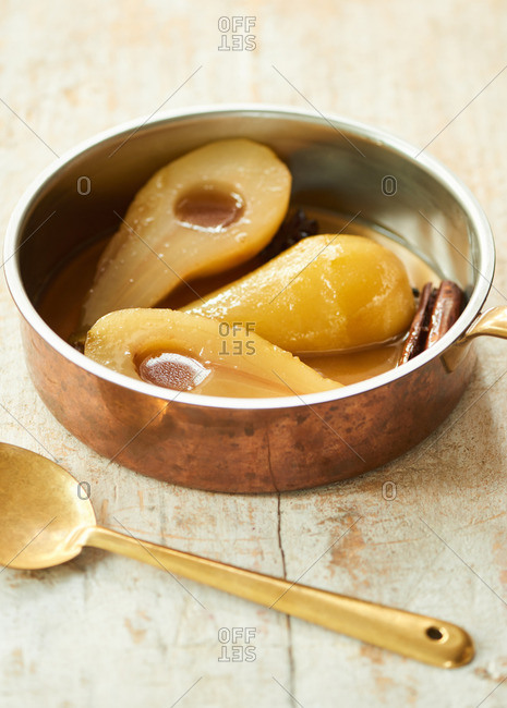 Poached pears cooked with cinnamon sticks and star anise