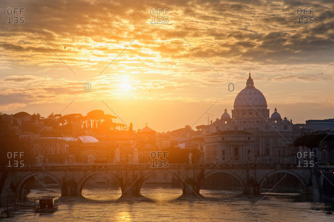 St Peters Basilica and bridge on canal