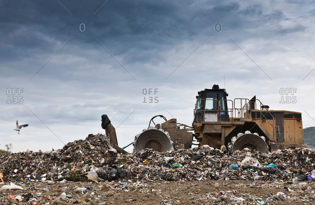 Bulldozer at garbage collection center