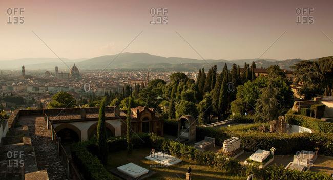 Aerial view of tombs in graveyard