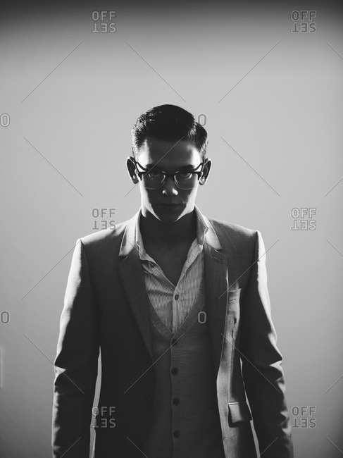Businessman in suit and glasses