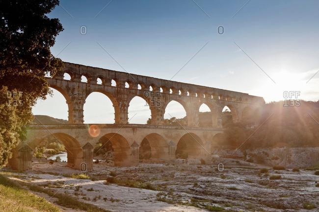Pont du Gard bridge over river