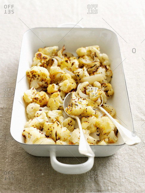 Dish of roasted cauliflower