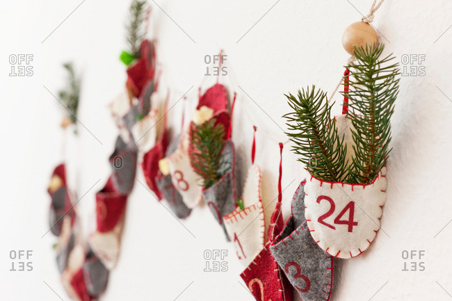 Close up of advent calendar on wall
