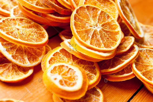 Close up of dried orange slices