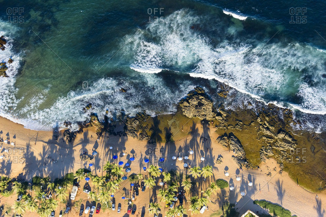 Aerial view of beach dotted with umbrellas, Salvador da Bahia, Brazil