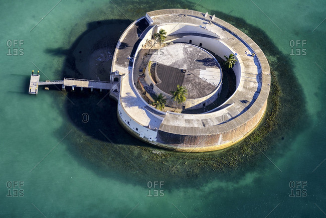 Birds-eye view of circular Sao Marcelo Fort in Salvador, Brazil