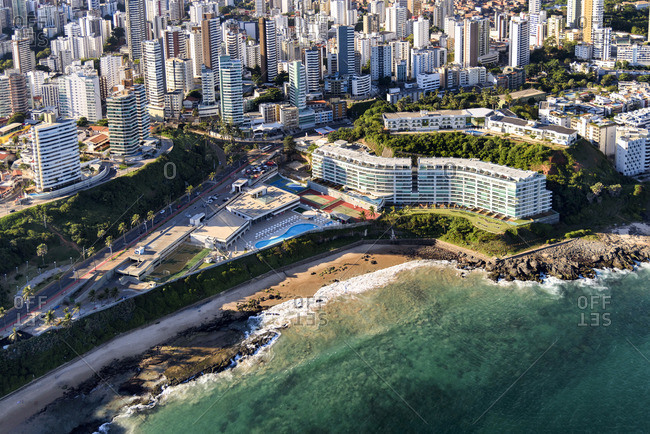 Aerial view of coastal resort and cityscape of Salvador, Brazil