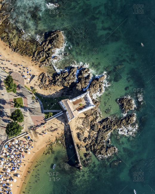 Aerial view of Santa Maria Fort on the rocky coast of Salvador, Brazil