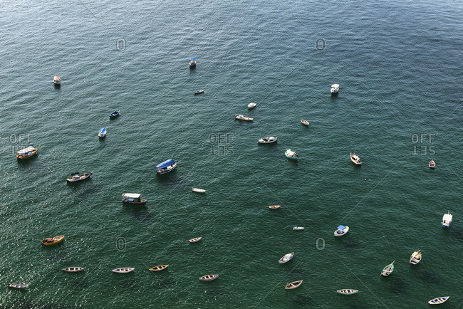 Aerial view of boats in the sea, Salvador da Bahia, Brazil