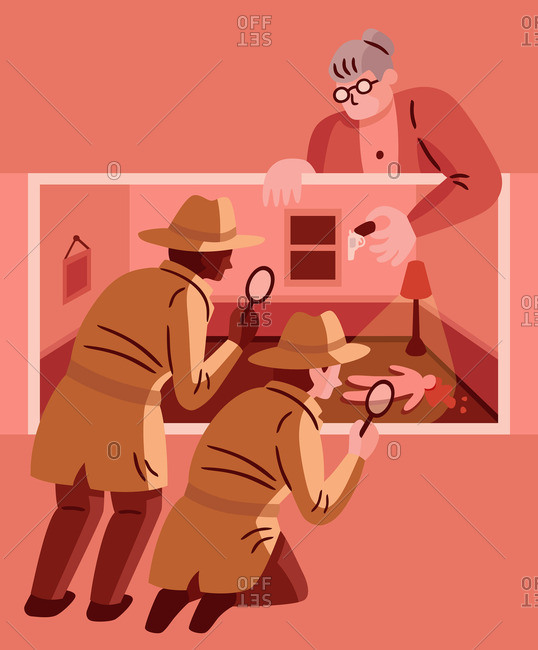 Woman setting up a crime scene for detectives