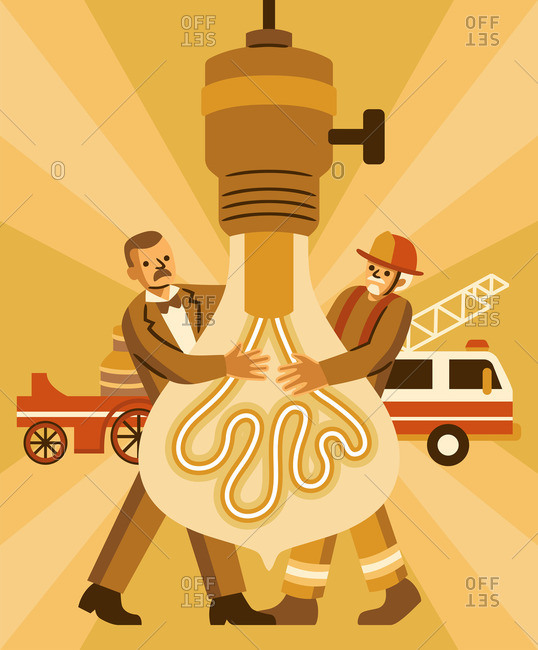 Firefighters screwing in a light bulb