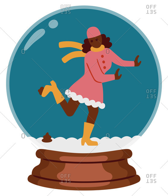 Woman stepping on dog poop in a snow globe