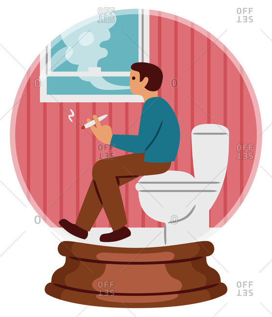 Man smoking in the bathroom in a snow globe