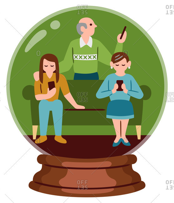 Family looking at phones in a snow globe