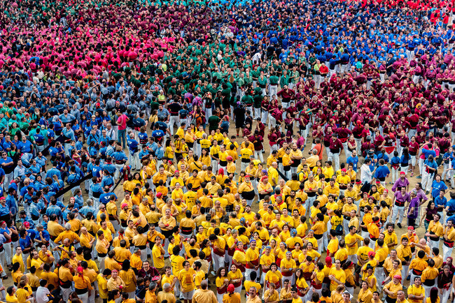 Views of the Tarraco Arena Plaza. Members of the  human tower teams during the XXVI human towers, or 'castells', competetion in Tarragona on October 1, 2016.