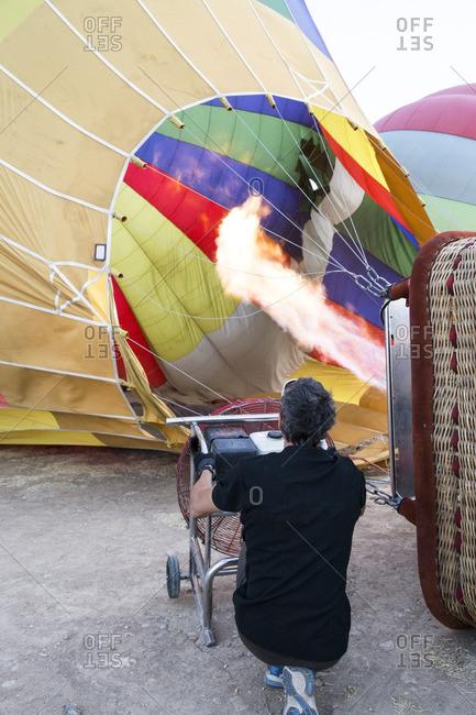 Hot air balloon is being prepared
