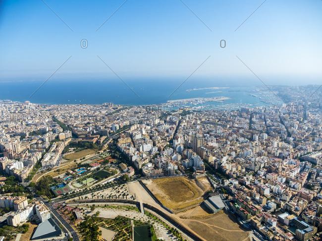 Spain Mallorca Palma de Mallorca Aerial view of old town and bay